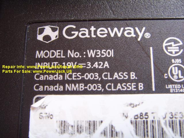 Gateway Model No W350L 350I W350l t-series